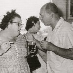 Hilde Schwarz and Joschi at a party