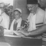 Bar Mitzvah: Peter Papernik. Richard Wolf(left) and Moses Arnoldi(right) leading the ceremony