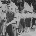 Harry Floersheim with school children marching