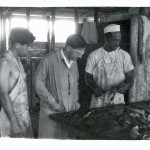 Dr. Kohn (middle) inspecting meat in Ganadera  with unknown workers