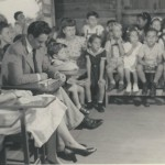 36  School meeting, teachers with Mr Scheer and children