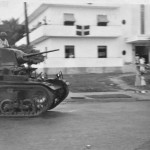 Street scene with armored tank